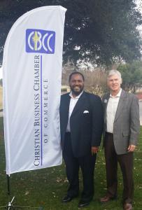 ATCOT San Antonio Men's Director Floyd Miles, III with San Antonio's Christian Business Chamber of Commerce President Bruce Murchison.